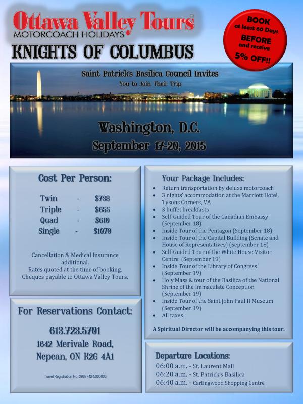 Knights of Columbus Washington Trip 2015